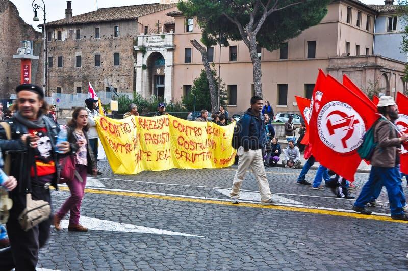 共产主义演示意大利罗马 图库摄影