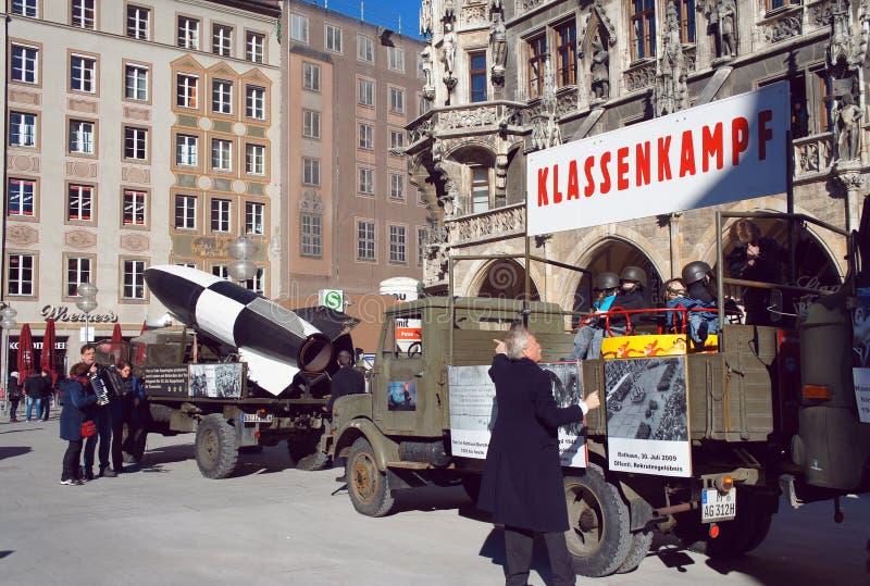 共产主义非战政治集会在慕尼黑 免版税库存照片