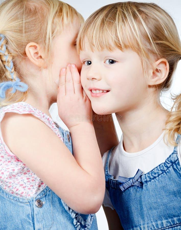 共享秘密的小女孩 免版税库存照片