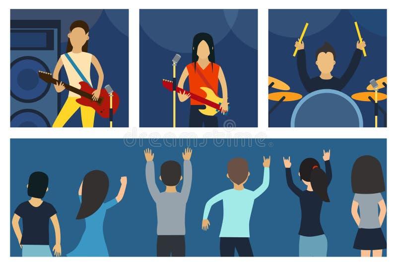 共同安排流行音乐小组艺术家在场面音乐阶段夜和在明亮的夜总会阶段前面的年轻岩石metall带人群 向量例证