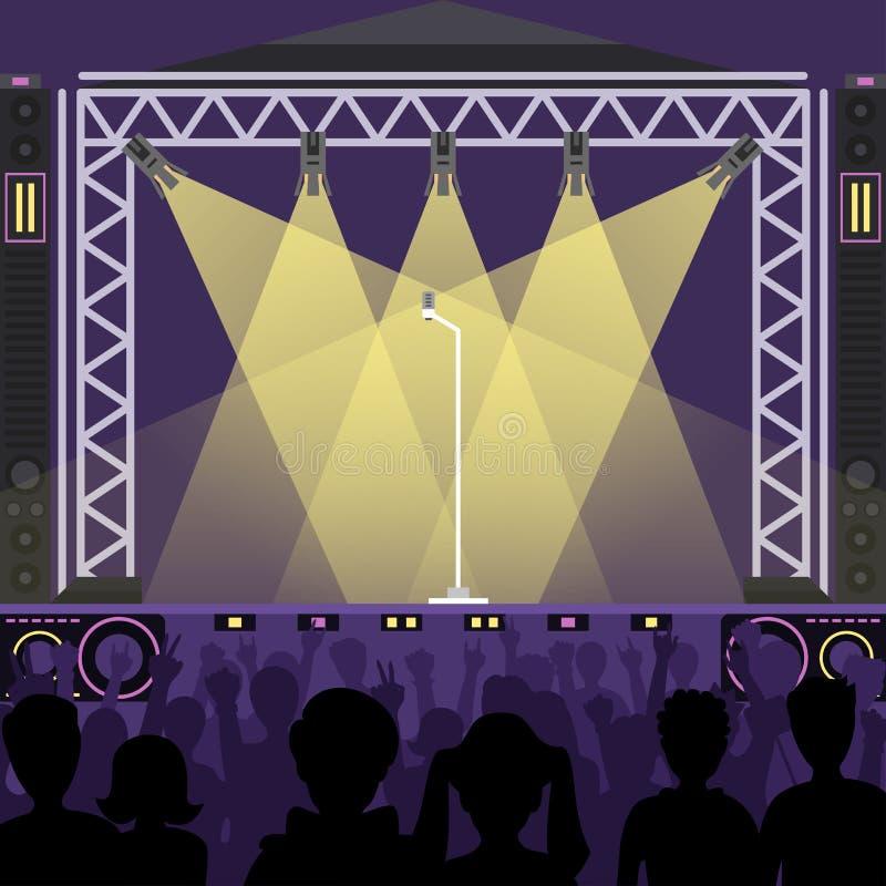 共同安排流行音乐小组艺术家在场面音乐阶段夜和在明亮的夜总会阶段前面的年轻岩石metall带人群 库存例证