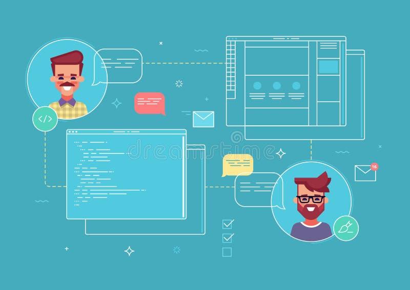 共同工作设计师和程序员的企业概念由网站项目  现代的例证 皇族释放例证