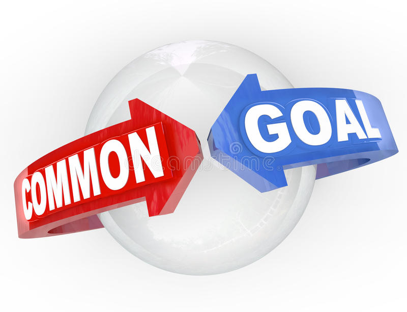 共同目标二箭头集会 向量例证