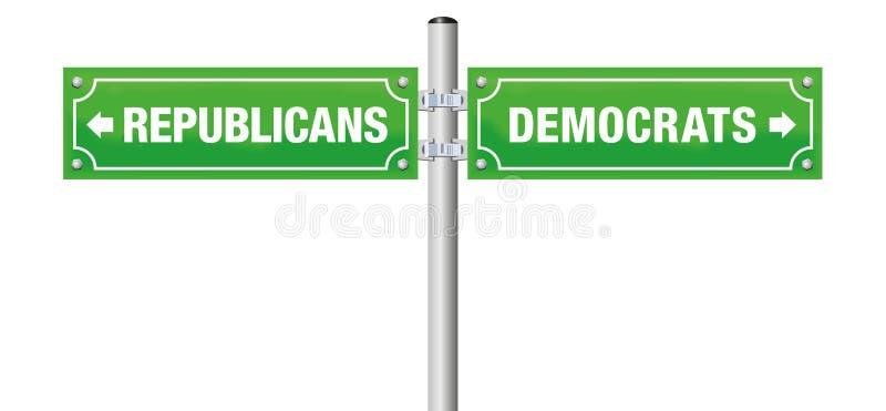共和党人民主党路牌 皇族释放例证