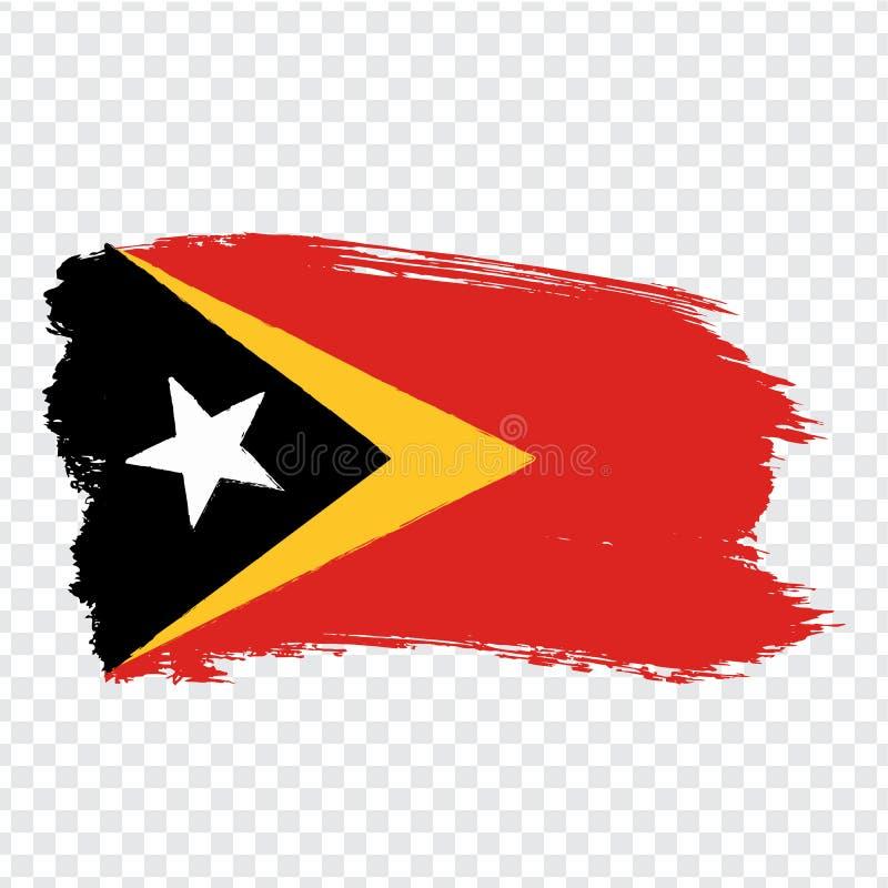 共和国东帝汶旗子从刷子冲程的 在透明背景您的网站设计的,商标,应用程序,UI的旗子东帝汶 向量例证