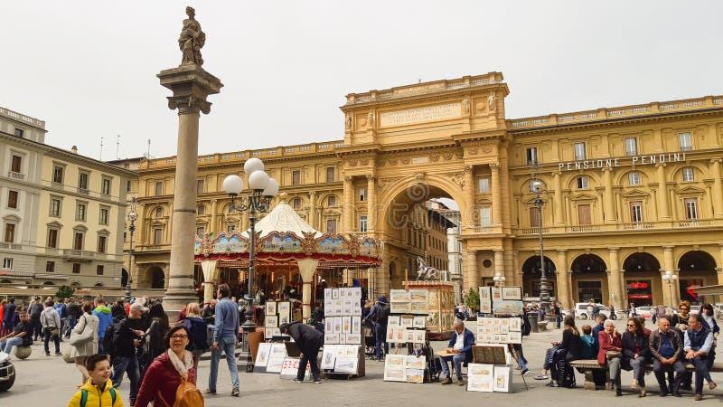 共和国广场在佛罗伦萨 库存图片