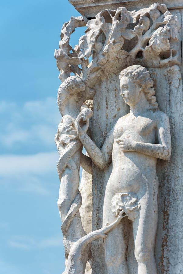 共和国总督` s宫殿Palazzo Ducale细节,威尼斯,意大利 库存照片