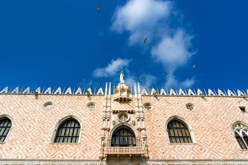 共和国总督宫殿门面建筑细节  意大利威尼斯 免版税库存图片