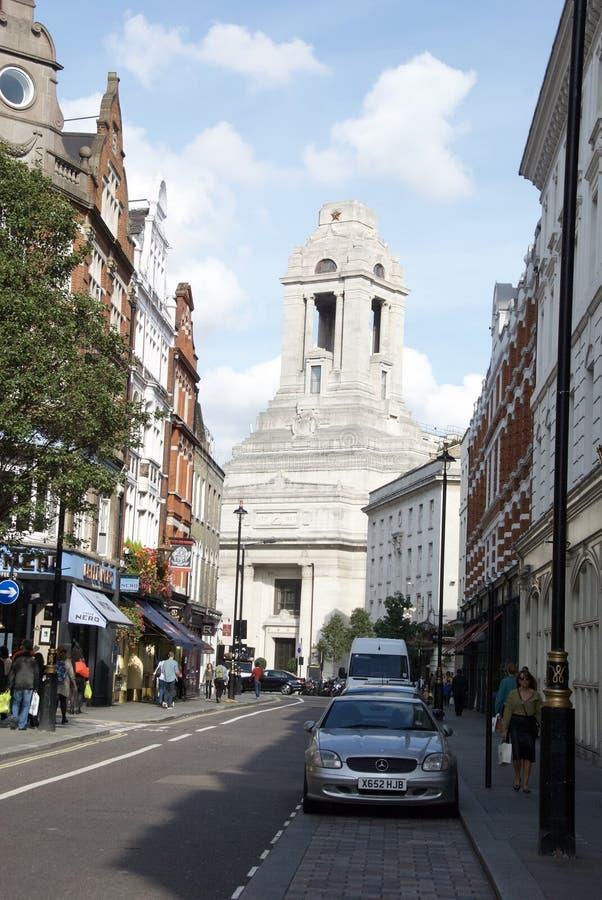 共济会堂大厅占据着伦敦的风景 免版税图库摄影