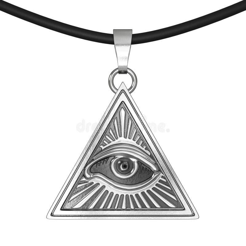 共济会的标志概念 在金字塔三角里面的所有看见的眼睛 向量例证