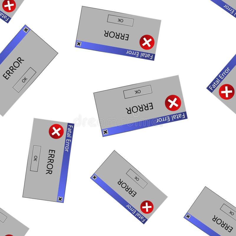关于一个错误的报警信息在操作系统 传染媒介例证警告 计算机突然出现在个人计算机显示的错误信息 皇族释放例证