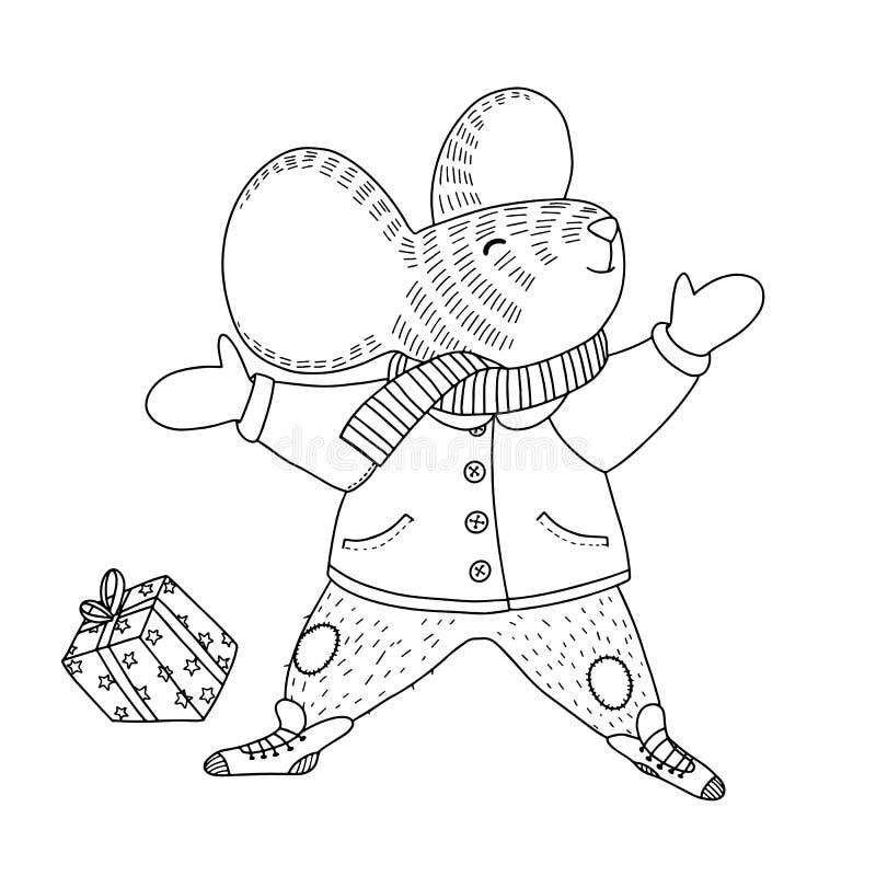 关于一只愉快的老鼠的传染媒介例证在雪或地面的温暖的外套、围巾和裤子leys 向量例证