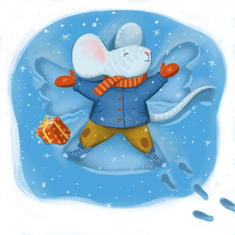 关于一只老鼠的数字例证在温暖的外套围巾和裤子 库存例证