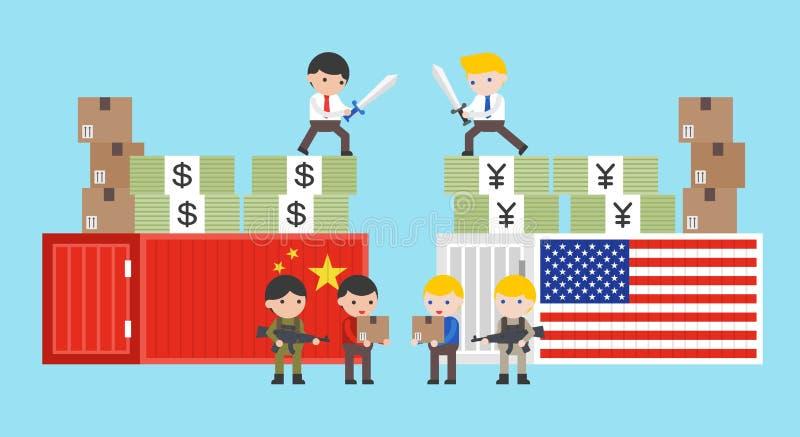 关于中国和美国传染媒介例证的贸易战 向量例证