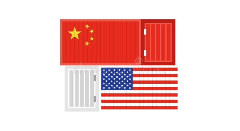 关于中国和美国传染媒介例证的贸易战 库存例证