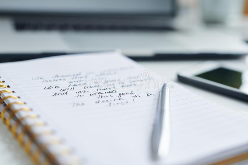 关于习字簿页的笔记 库存照片
