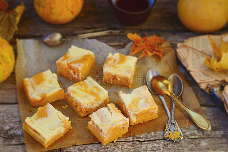 关于乳脂干酪的南瓜饼 免版税库存图片