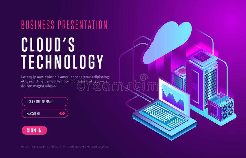 关于云彩数据库技术的网页设计 向量例证