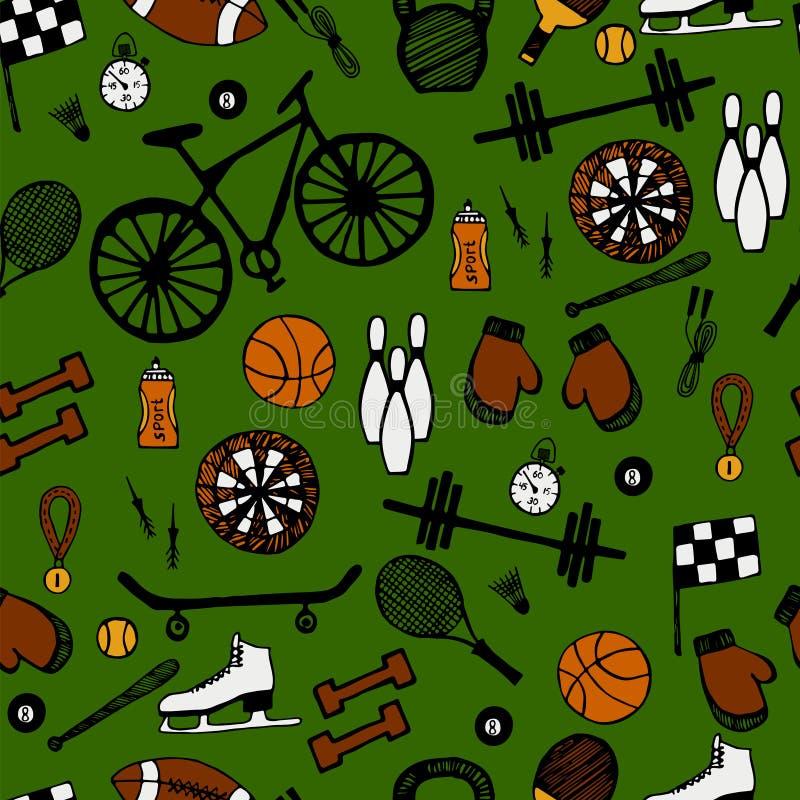 关于体育样式题材的动画片手拉的乱画 库存例证