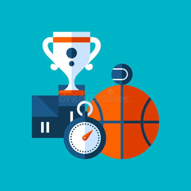 关于体育的五颜六色的例证和在现代平的样式的体育 学院附属的象 库存例证