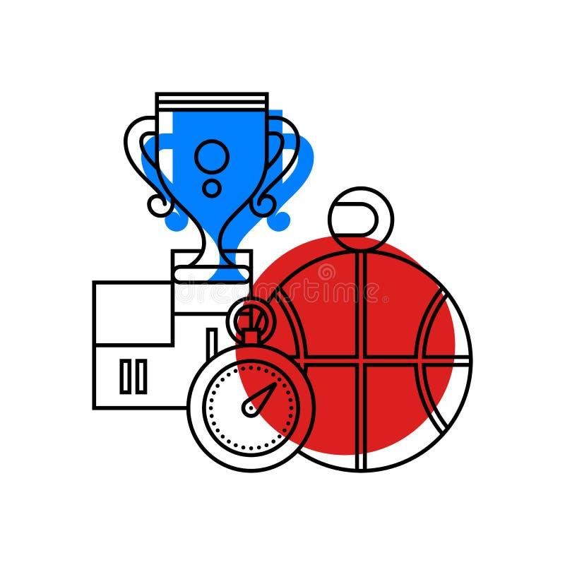 关于体育的五颜六色的例证和在现代概述样式的体育 学院附属的象 库存例证
