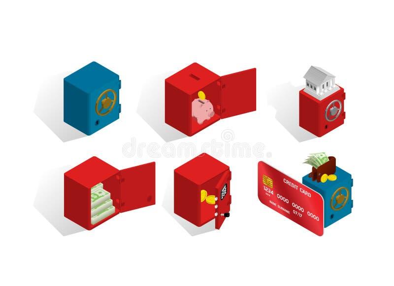 关于保险柜和金钱的等量象 库存例证