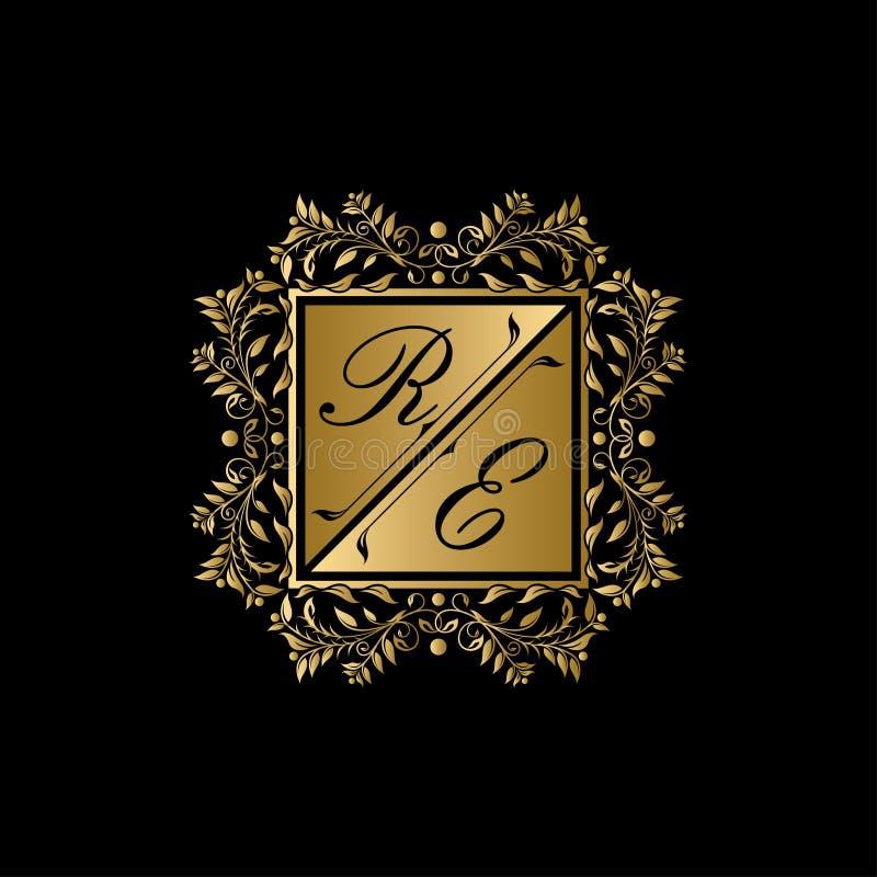 关于信件商标的金黄皇家婚礼 皇族释放例证