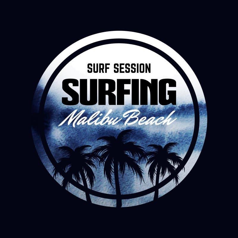 关于冲浪的海报 库存例证