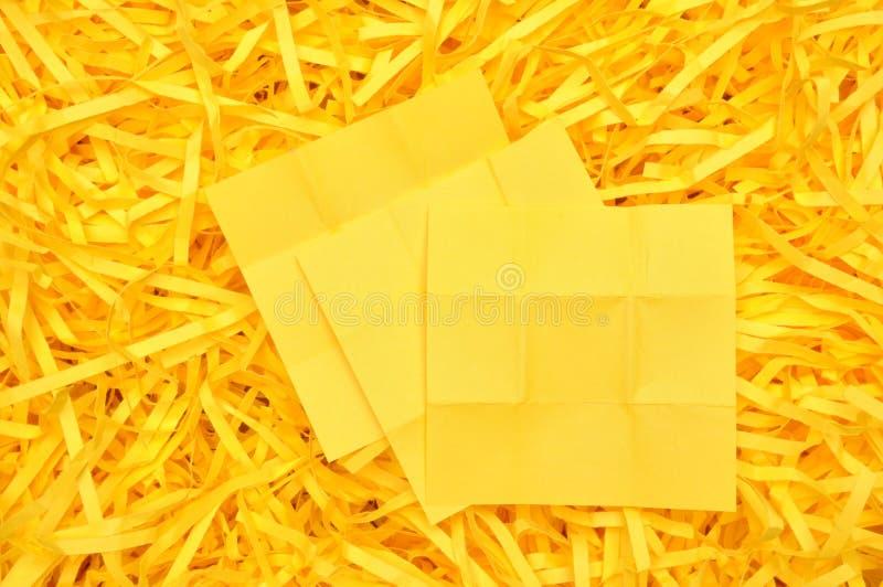 关于切细的纸的黄色稠粘的笔记 免版税库存照片