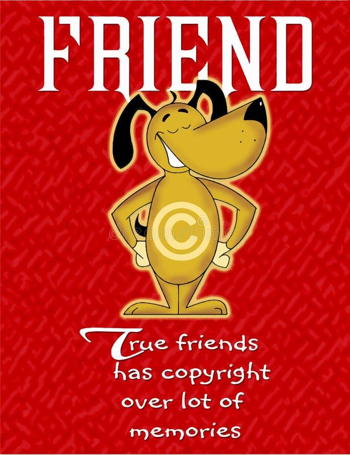 关于友谊的五颜六色的卡片,微笑在卡片的狗 向量例证