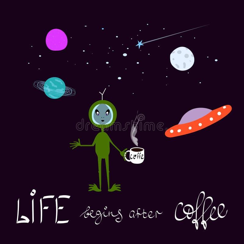 关于咖啡的幽默例证 外籍人宇宙空间星月亮波斯菊图形设计印刷术元素 笑话幽默手 向量例证