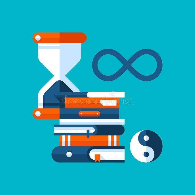关于哲学的五颜六色的例证在现代平的样式 学院附属的象 滴漏,书,哲学标志 皇族释放例证