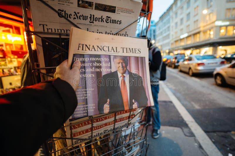 关于唐纳德・川普新的美国总统的金融时报 免版税库存图片