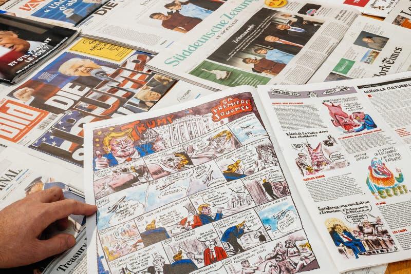 关于唐纳德・川普的讽刺画查理的Hebdo 库存照片