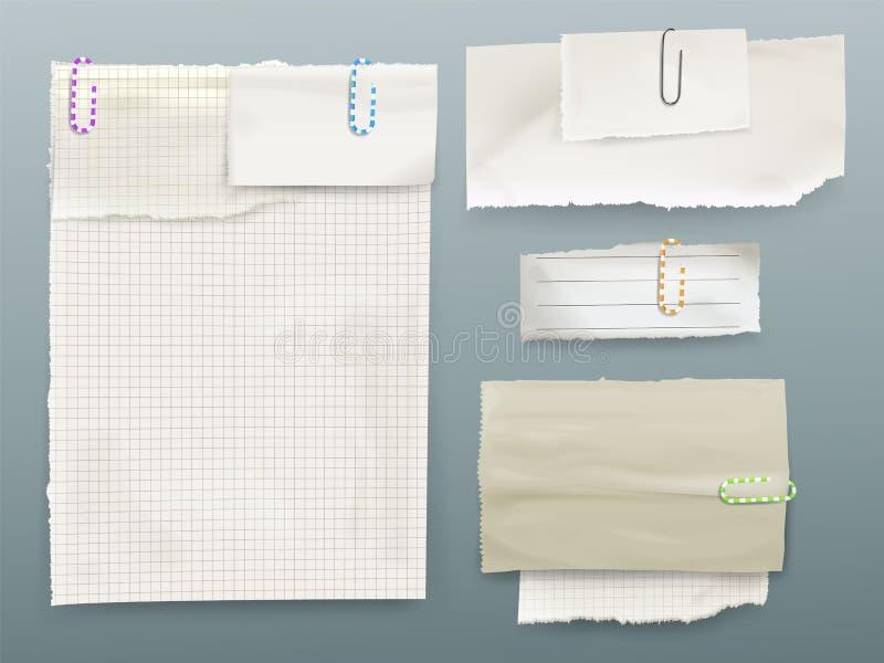 关于夹子传染媒介例证的纸消息笔记 库存例证