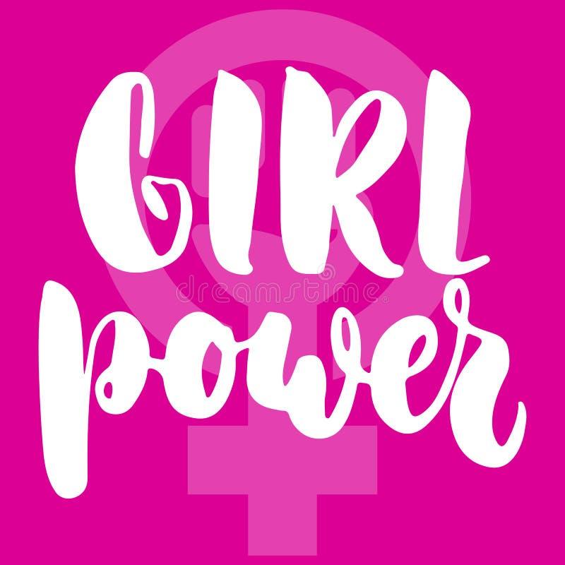 关于妇女,女性,在桃红色背景的女权主义的女孩电源的手拉的字法词组 乐趣刷子墨水题字 皇族释放例证