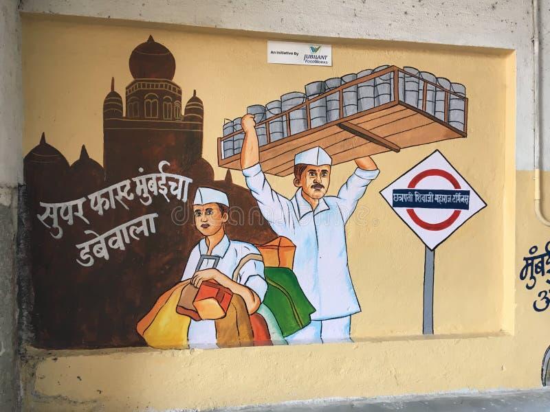 关于孟买生活习俗的壁画在chhatrapati shivaji maharaj终点 免版税库存图片