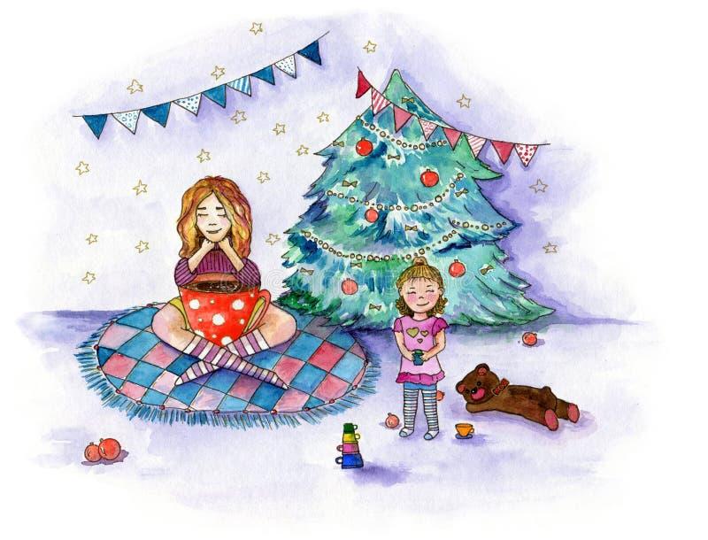关于家庭茶会的水彩例证在圣诞树附近的12月 向量例证