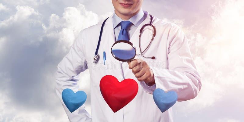 关于心脏健康的医生关心 向量例证