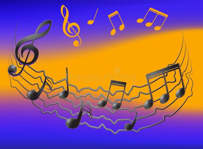 关于振动职员和colorfull背景的音符 免版税库存照片