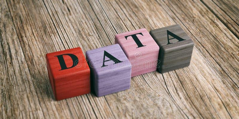 关于木块的词数据 3d例证 库存例证