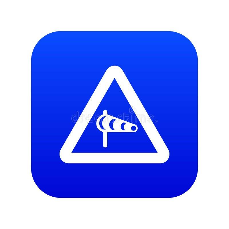 关于横风的标志警告从左象数字蓝色 皇族释放例证