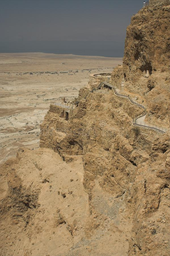 关于死海的美丽如画的古老山在以色列,旅行照片 库存照片