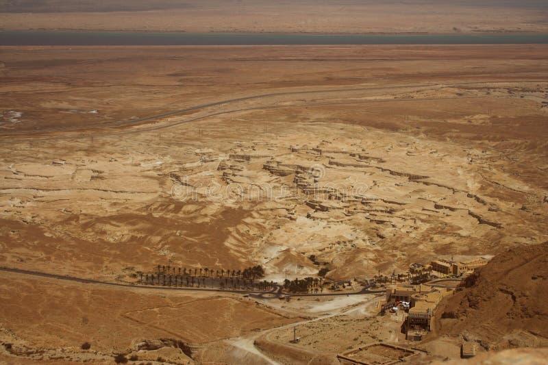 关于死海的美丽如画的古老山在以色列 库存照片