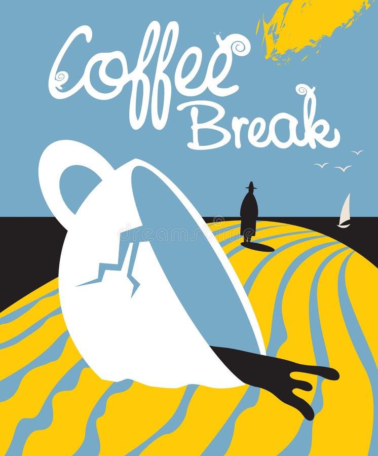 关于残破的咖啡的剧情和人 向量例证