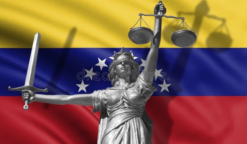 关于法律的盖子 正义忒弥斯的神雕象与委内瑞拉背景旗子的  正义原始的雕象  Femida,与标度 库存例证