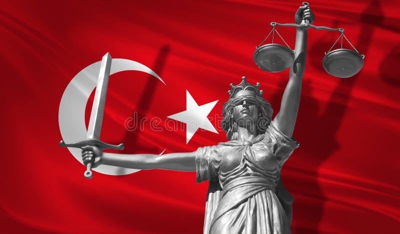 关于法律的盖子 正义Themis的神雕象与土耳其背景旗子的  正义原始的雕象  Femida,与标度, s 向量例证