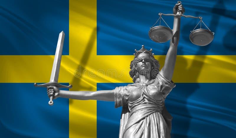 关于法律的盖子 正义Themis的神雕象与瑞典背景旗子的  正义原始的雕象  Femida,与标度, s 向量例证