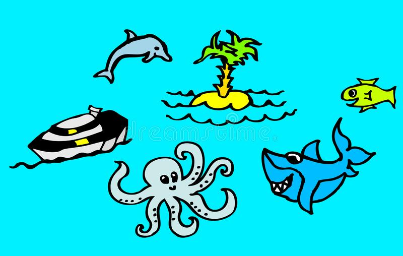 关于海滩和海的图画有一个鲨鱼和一只海豚的也孩子的可利用作为传染媒介图画 皇族释放例证