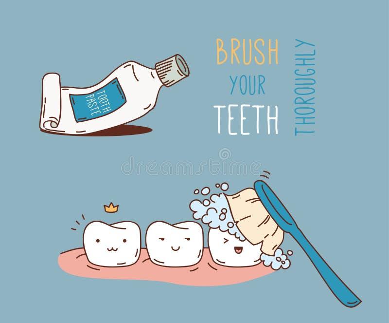 关于牙齿诊断和治疗的漫画 库存例证
